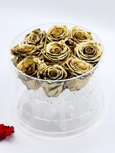 Load image into Gallery viewer, Acrylic Box Preserved Gold Roses Christmas Gift