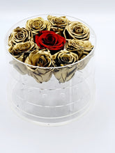 Load image into Gallery viewer, Acrylic Box Preserved Gold Roses W/Red center Rose Christmas Gift