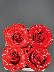 Classic Square Marbled Red Roses