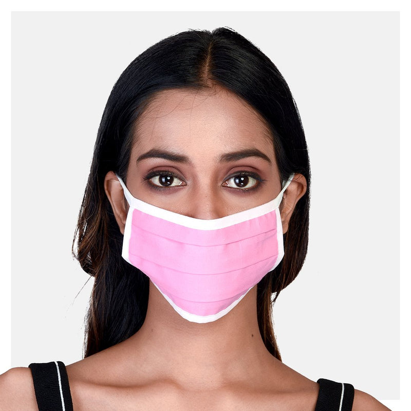 Pure Cotton Pleated 2 Ply Masks Pink, Grey & Checks (Pack of 3) - Suman Nathwani