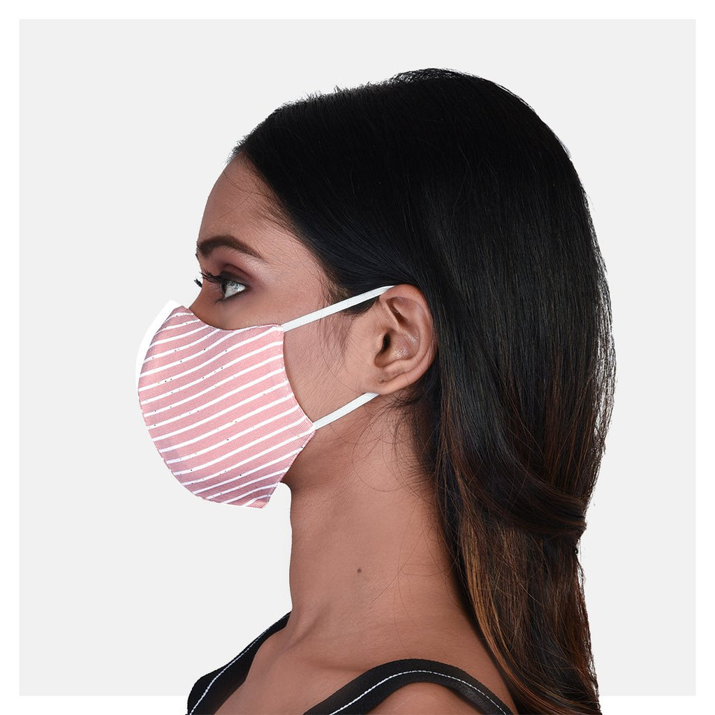 Pure Cotton Single Jersey 2 Ply Mask Pink & Blue (Pack of 2) - Suman Nathwani