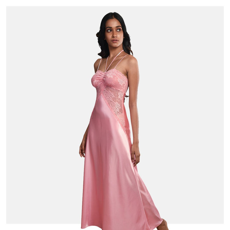 Women Peach Satin Full Length Bridal Nighty Gown Set