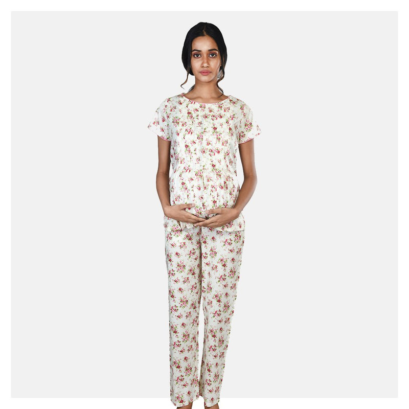 Women Off White Floral Printed Comfortable Cotton Maternity Night Suit