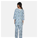 Women White and Blue Double Front Zip Cozy Cotton Maternity Night Suit