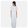 Women Off White Flap Style Feeding Cotton Rayon Nighty