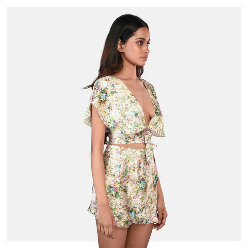 Women Cream Floral Print Top and Short Set