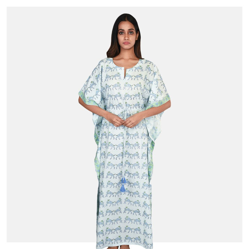 Women Sky Blue Block Printed Summer Cotton Kaftan