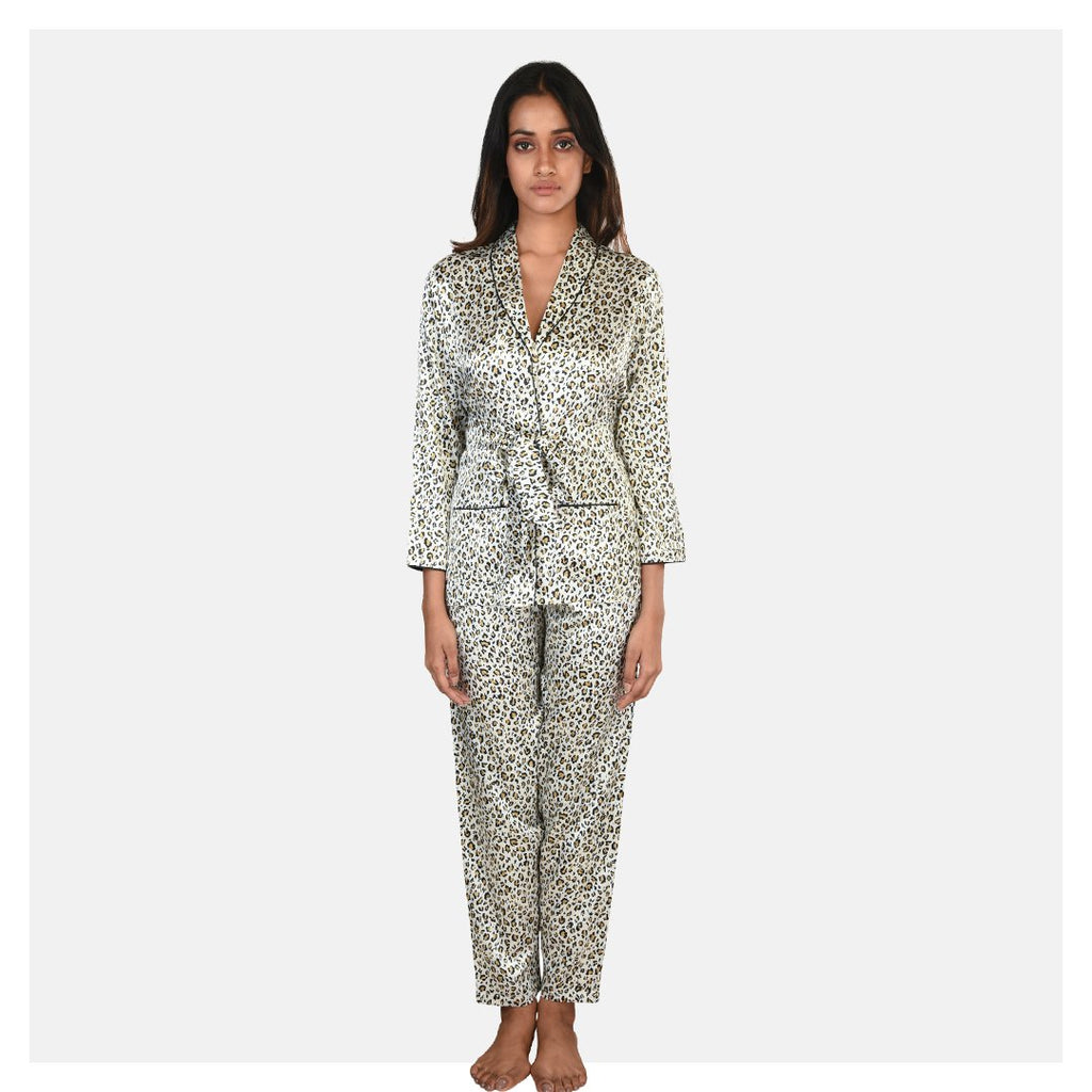 Women Animal Print Satin Night Suit Set - Suman Nathwani