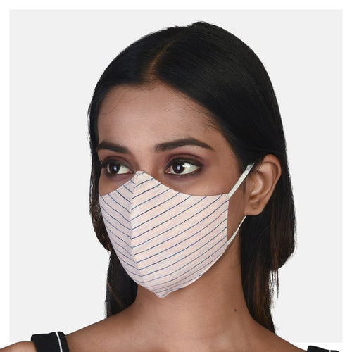 Pure Cotton Single Jersey 2 Ply Mask Pastel Pink & Off-White (Pack of 2) - Suman Nathwani