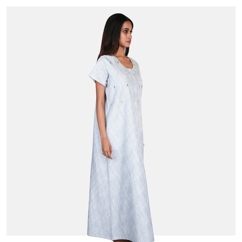 Women Delicate Hand Embroidered Cotton Sleepwear - Suman Nathwani