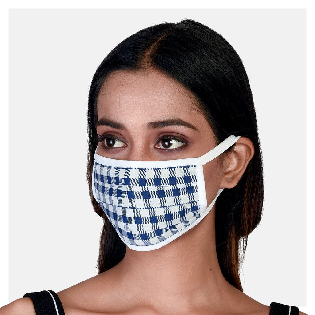 Pure Cotton Pleated 2 Ply Masks Blue, Pink & Check Print (Pack of 3) - Suman Nathwani