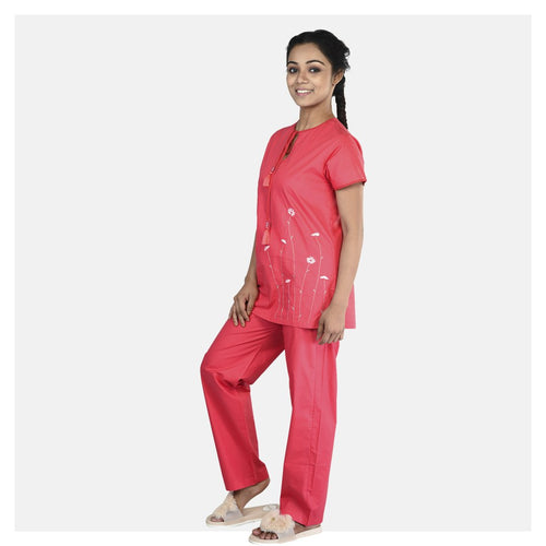 Women Reddish Pink Floral Daisy Embroidered Dream Cotton Nightsuit
