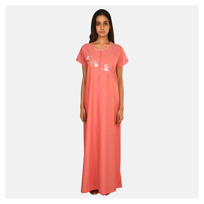Women Pink Summer Cotton  Nighty
