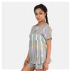 Women Grey Top and Short Handloom Cotton Nightwear Set