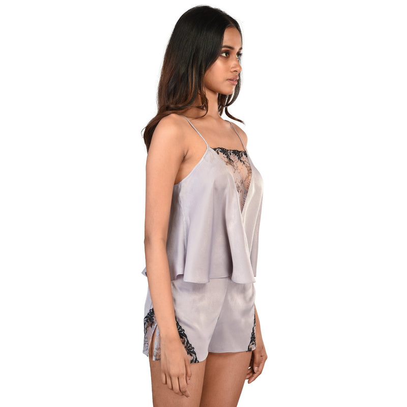 Women Grey Spaghetti Top ans Short Sensual Bridal Nightwear - Suman Nathwani