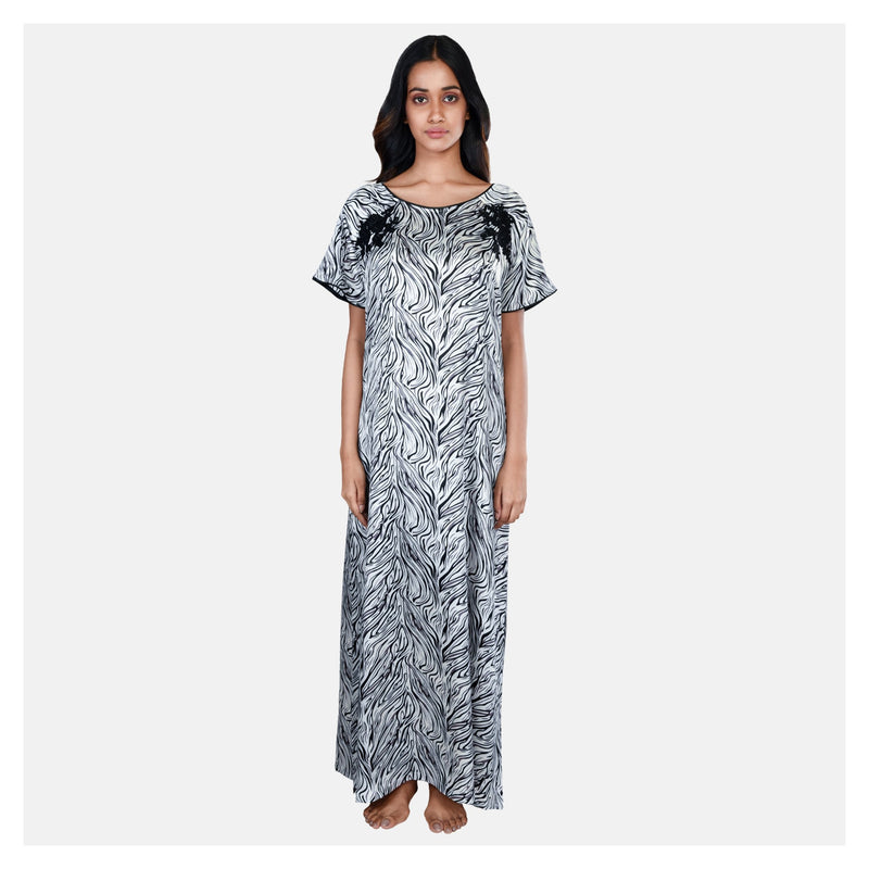 Women Black & White Elegant Round Neck Satin Nighty - Suman Nathwani