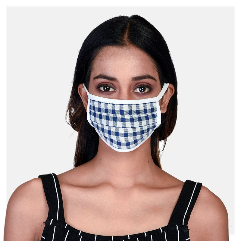 Pure Cotton Pleated 2 Ply Blue, Grey & Checked Masks (Pack of 3) - Suman Nathwani
