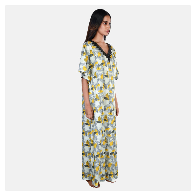 Yellow Printed  V-Neck Autumn Print Cotton Kaftan