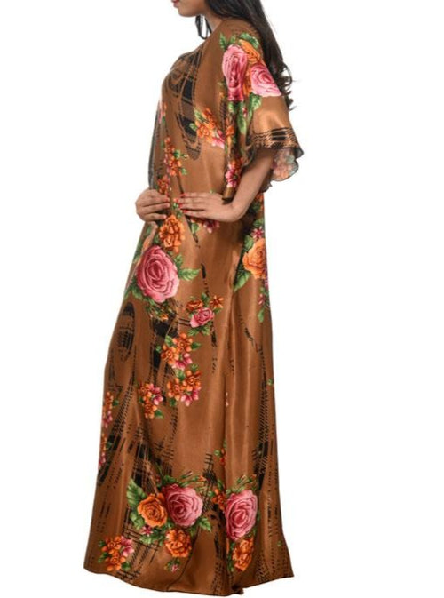 Women Digital Print Satin Kaftan