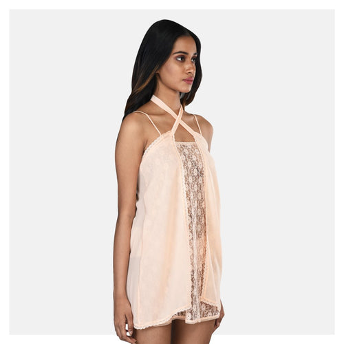 Women Peach Georgette and Lace Babydoll