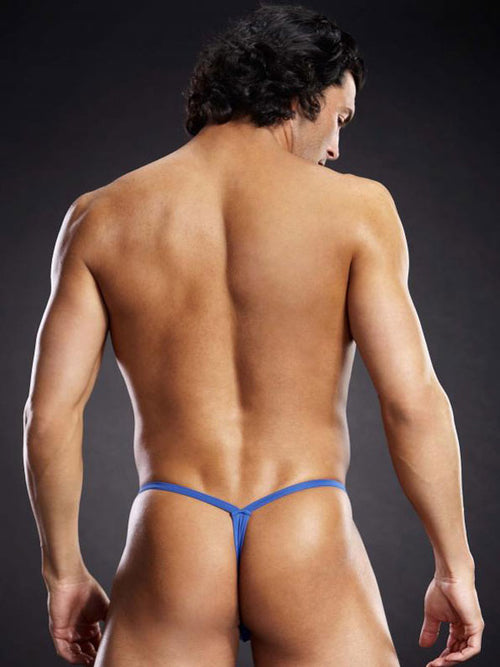 Men's Microfiber V String With Metal Rings By Blue Line