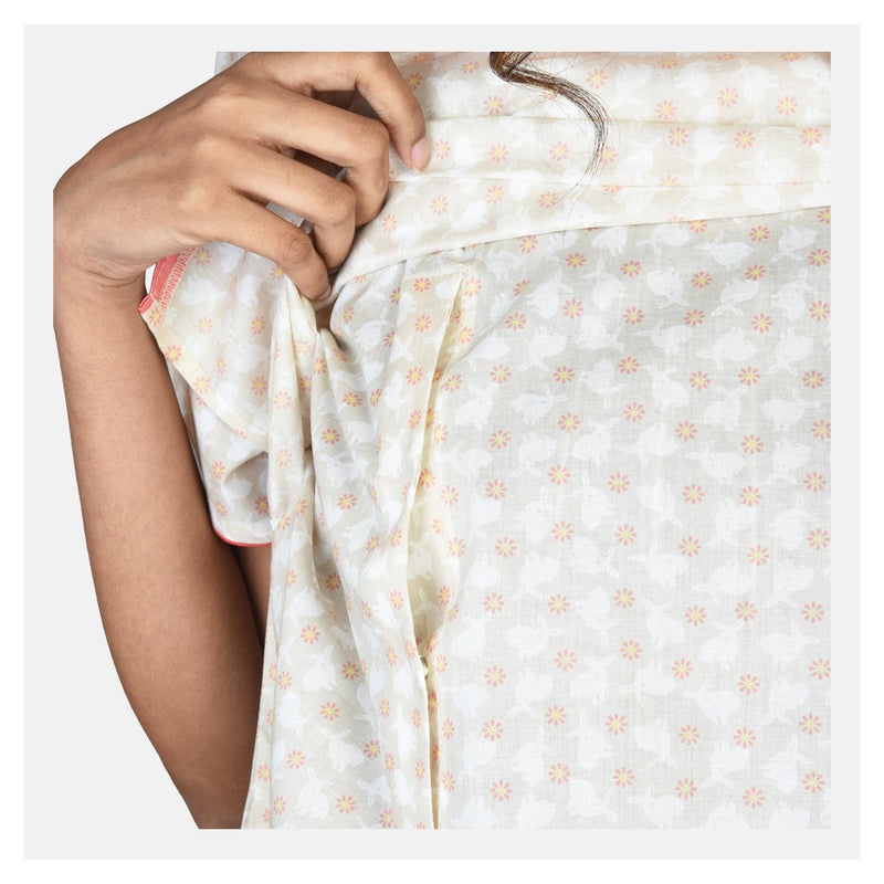 Women Bunny Print Flap Style Cotton Feeding Nighty - Suman Nathwani