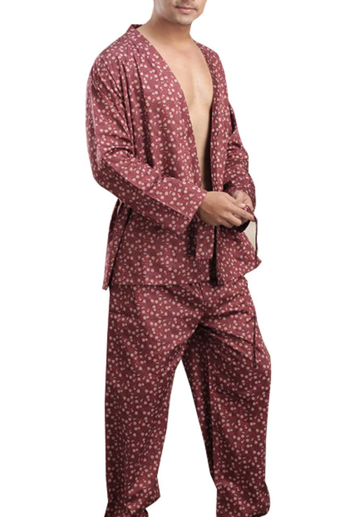 La Lingerie – Suman Nathwani – Men's cotton Short Gown And Pajama Set – Brown