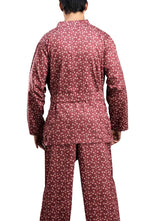 Men's Cotton Short Gown And Pajama Set By Suman Nathwani