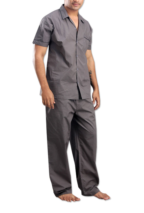 Men's Cotton Steel Grey Night Suit Set By Suman Nathwani