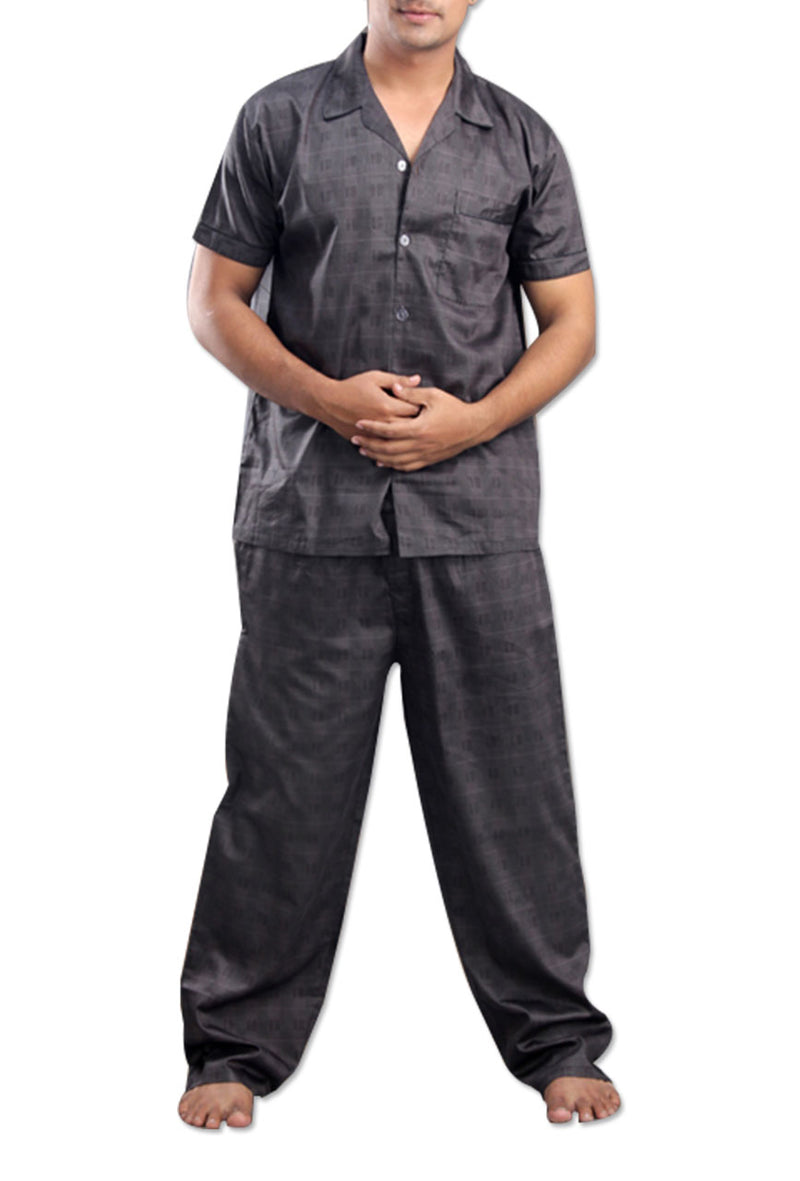 Men's Cotton Grey Night Suit By Suman Nathwan