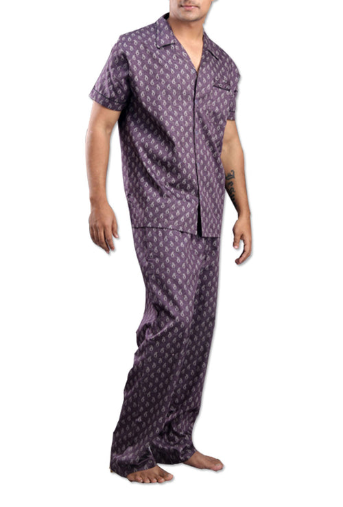 La Lingerie – Suman Nathwani – Men Cotton Purple Night Suit