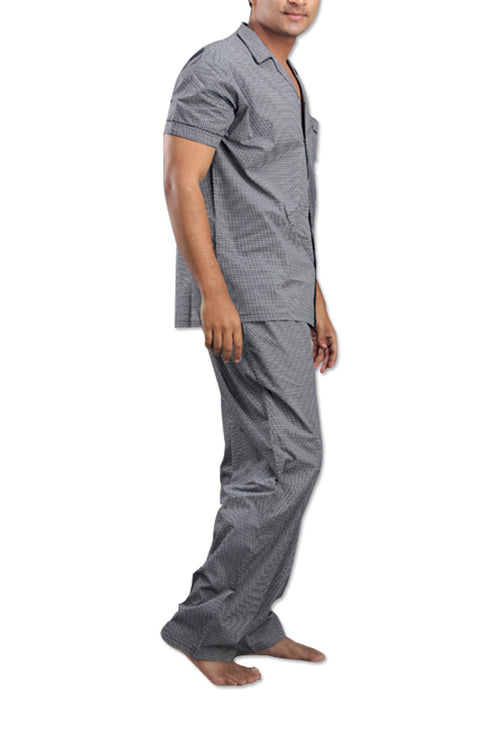 La Lingerie – Suman Nathwani – Men Pure Cotton Light Grey Night Suit Set