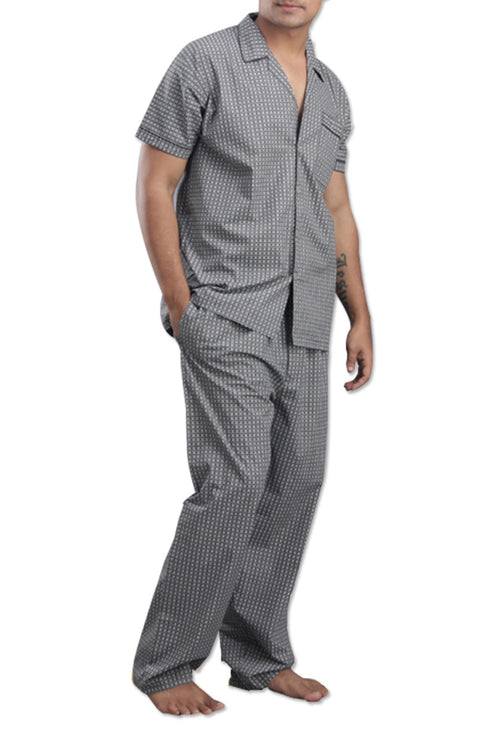 La Lingerie – Suman Nathwani – Men's pure cotton Night Suit-Black-White