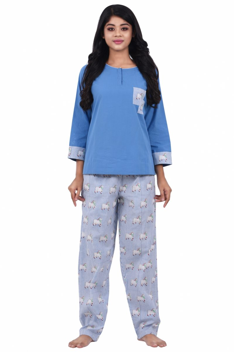 Women Cotton Full Length Pyjama Set