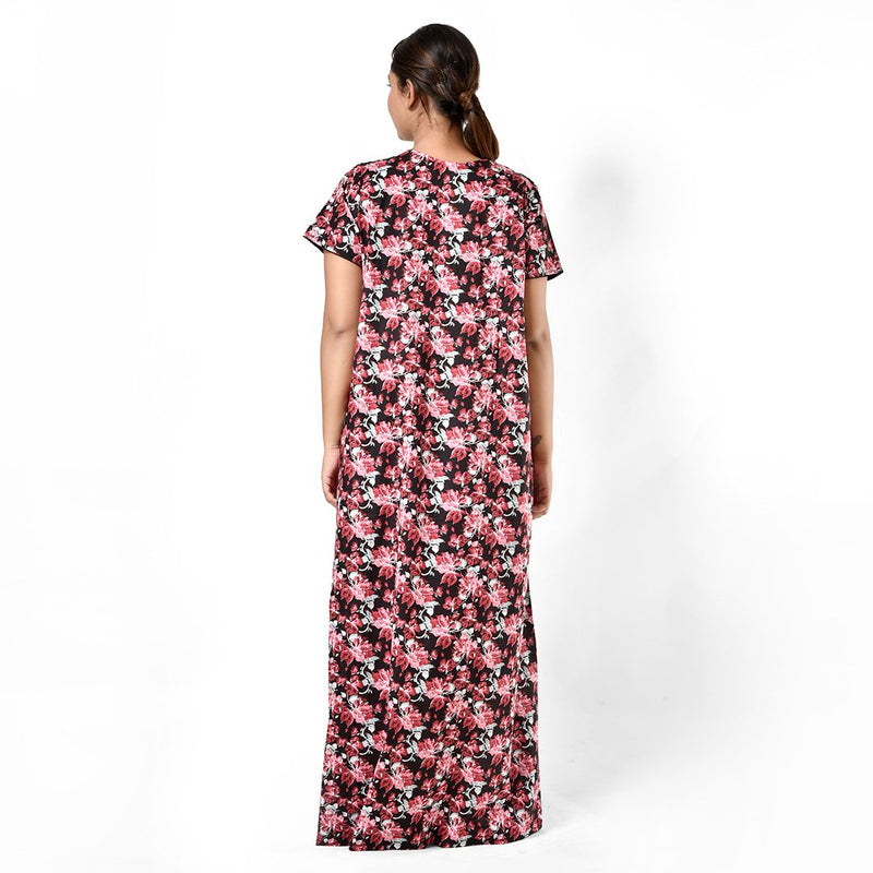 Women Black And Pink Floral Print Cambric Cotton Nighty