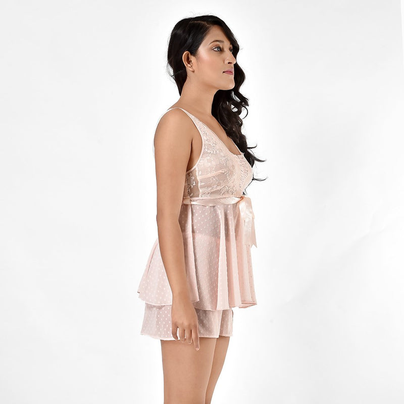 Women Ice Pink Georgette Top & Shorts