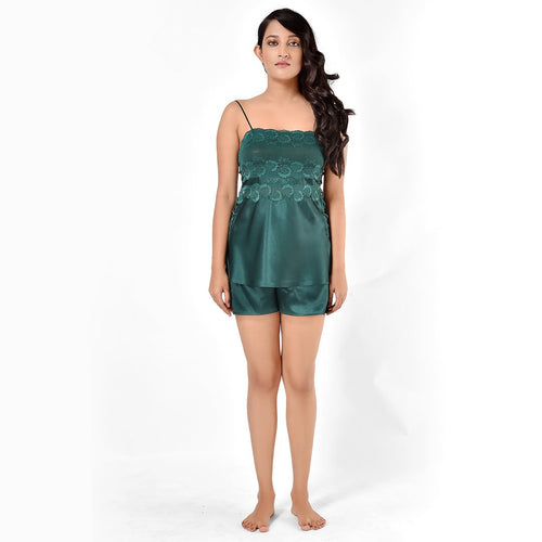Women Bottle Green Side Criss-Cross Top & Shorts