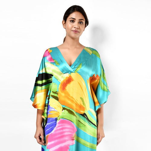 Women Multicolored Elegant V Neck Satin Kaftan