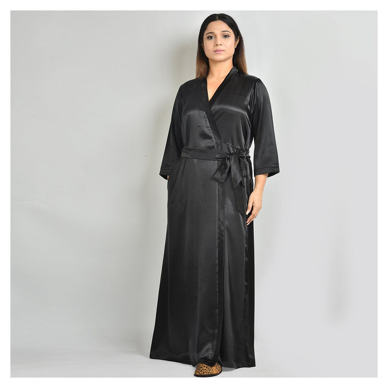 Woman Black Satin Robe