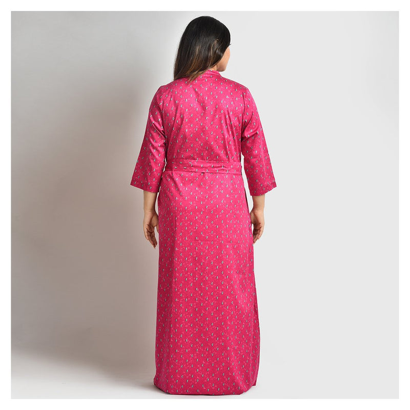 Woman Cherry Red Small Flower Print Japanese Cotton Robe