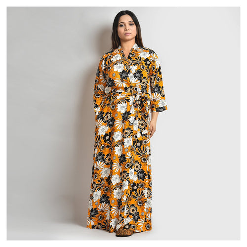 Woman Mustard Floral Print Cotton Rayon Robe