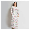 Woman Off White Floral Print Cotton Rayon Robe