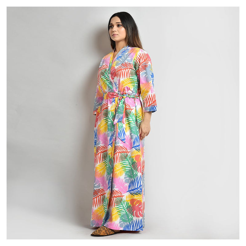 Woman Multi Color Printed Cotton Robe