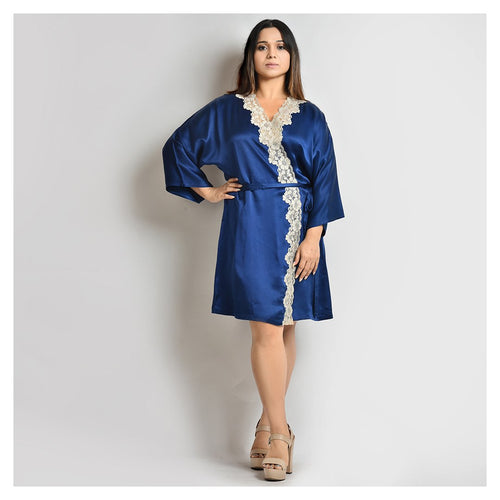 Woman Midnight Blue Short Robe