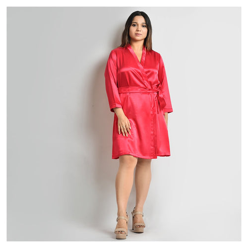 Woman Blood Red Color Short Robe