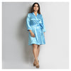 Woman Light Blue Color Short Robe