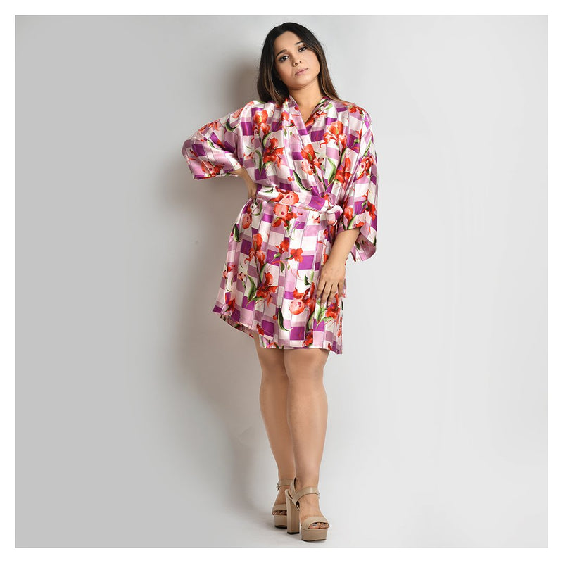 Woman Light Purple Printed Short Robe