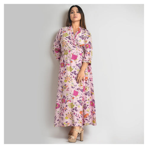 Woman Light Purple Flower Print Silk Robe