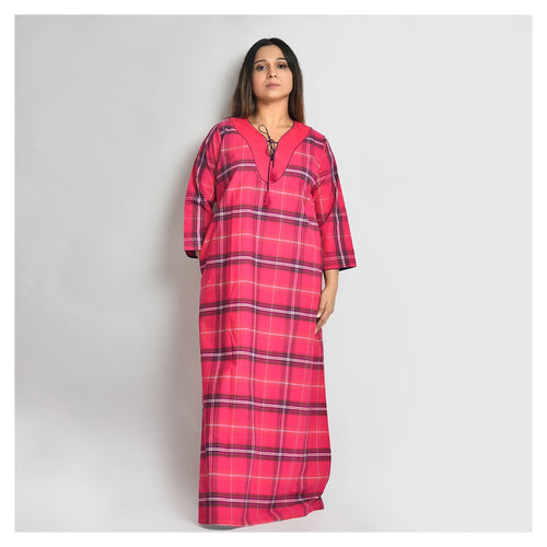 Woman Cherry Red Checks Cotton Cambric Nighty