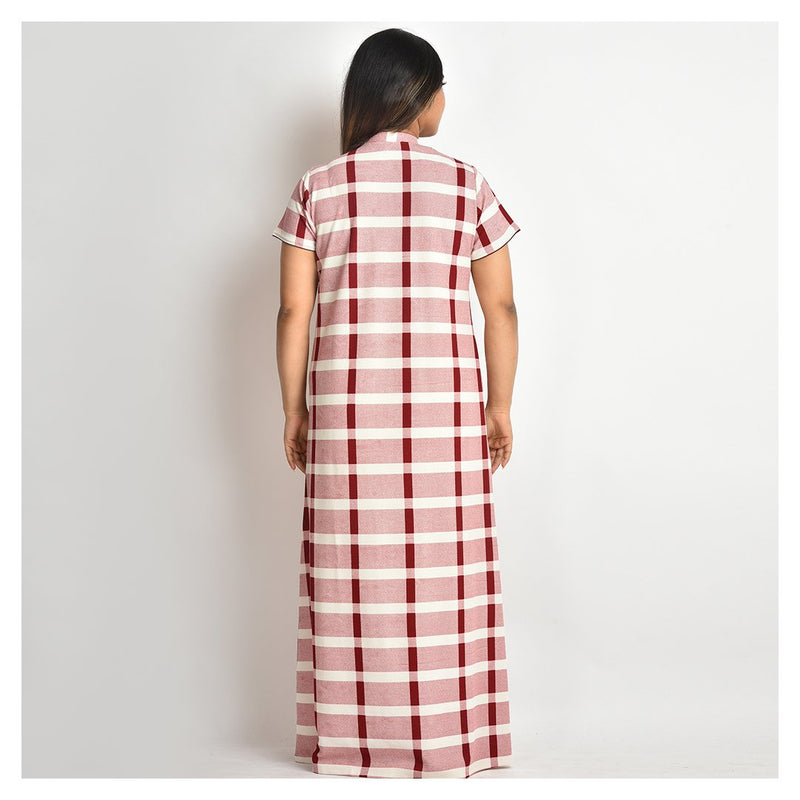 Women Off White and Maroon Check Style Jersey Hand Embroidery Nighty - For Mild Winters